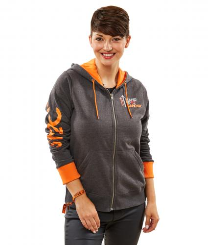 Stand Up To Cancer Women's Grey Hoodie with Orange Trim