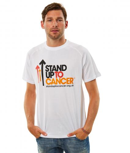 Stand Up To Cancer Mens White Full Logo T-Shirt