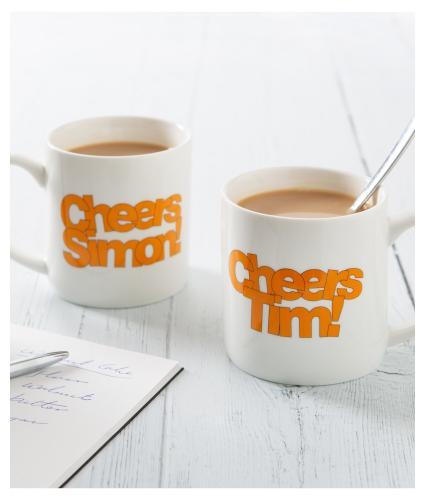 Sunday Brunch Pair of Cheers Tim and Simon Mugs