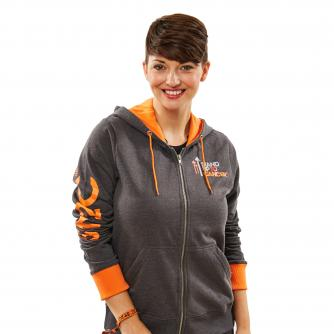 Womens Stand Up To Cancer Grey Hoodie with Orange Trim