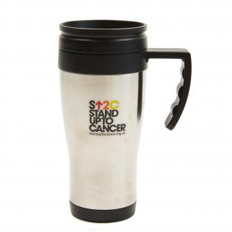 Stand Up To Cancer silver travel mug
